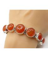 925 Sterling Silver - Vintage Vibrant Orange Carnelian Bracelet - B2493 - $104.21