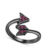 14k Black Gold Plated 925 Silver Pink Sapphire Bypass Arrow Adjustable Ring - $14.99