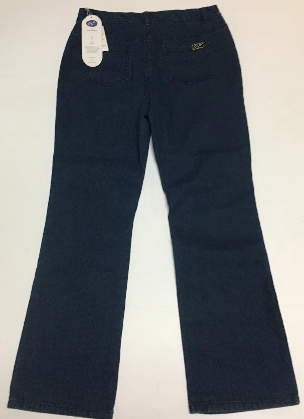 Diane Gilman Pinstriped Jeans 10P Blue NWT