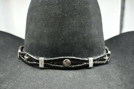 Black Hatband Scalloped Braided Leather With Star And Rectangle Conchos Hat Band - $26.59