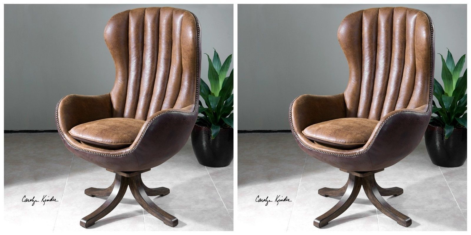 TWO MID CENTURY STYLE SWIVEL HIGH BACK ACCENT CLUB CHAIR FAUX LEATHER & SUEDE