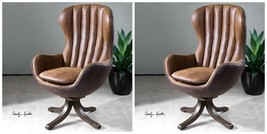 TWO MID CENTURY STYLE SWIVEL HIGH BACK ACCENT CLUB CHAIR FAUX LEATHER & ... - $2,195.60