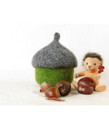 Felted acorn bowl - Organic eco-friendly - waldorf toy - Grey and green -  - $26.90