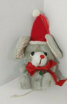 Russ small plush Christmas mouse Santa hat white polka dot ears #255 Korea - $3.95