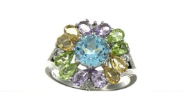 Ladies Size 8.5 Sterling Silver Multi Color Gemstone Fashion Ring No. 2112