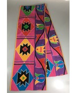 "Echo Multi-Color Mod Tulips Long Cotton Silk Scarf 11 x 64"" Made in Japan  - $43.61"