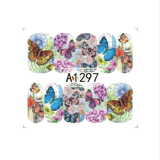 "HS Store -1 Sheets Nail Sticker Butterfly ""A1297"" Nail Decorations UV Gel Polish"
