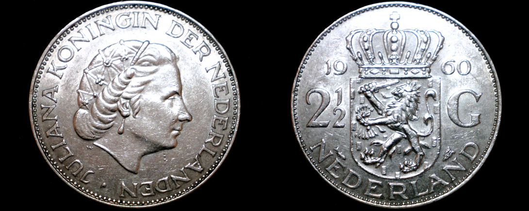 Primary image for 1960 Netherlands 2 1/2 Gulden World Silver Coin