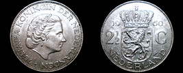 1960 Netherlands 2 1/2 Gulden World Silver Coin - $24.99