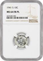 1941-S 10c NGC MS64 FB PL - Mercury Dime - $455.90