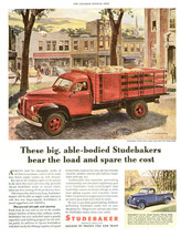 tva3062 Vintage 1946 Ad-Print Studebaker Truck In City Ad-Print   - $9.49