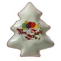 """Christmas Tree Shaped Dish Candy Nuts Trinkets 8"""" Santa Claus Candy Cane... - $16.39"""