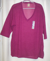 NEW WOMENS PLUS SIZE 2X FADED GLORY BERRY  3/4 SLEEVES HACCI SWEATER KNI... - $15.47