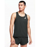 Nike AeroSwift Singlet.  Men's Running Tank Top. BLK/WHT. Size:Large. REG:$70.00 - $64.99