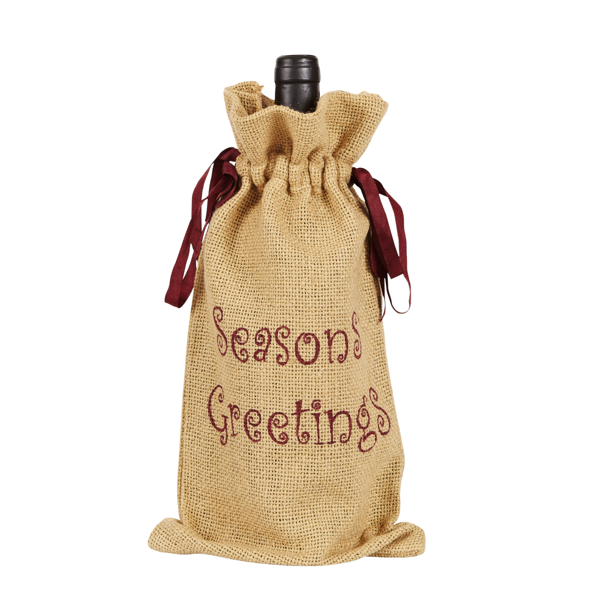 BURLAP NATURAL Wine Bag - Soft Cotton - Seasons Greetings - Country - VHC Brands