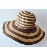Jennifer Lopez JLo Floppy Wide Brim Striped Brown Hat Rhinestone Accent - $39.59
