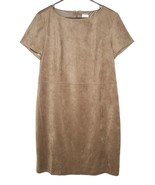NWT Chico's 2 L Faux Suede Dress SOFT Taupe Sheath - $29.69