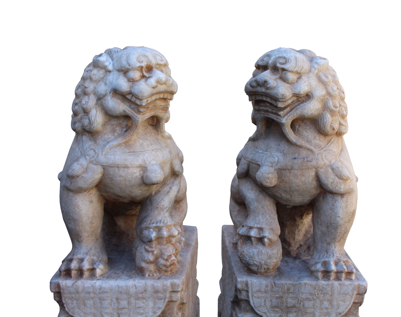 Chinese Pair Off White Marble Stone Fengshui Foo Dogs Statues cs3224 image 4