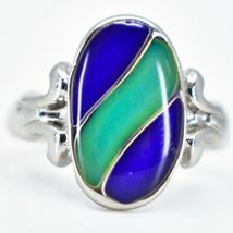 Oval & Ribbon Shaped Multi-Color Changing Contrasting Silver Painted Mood Ring image 7