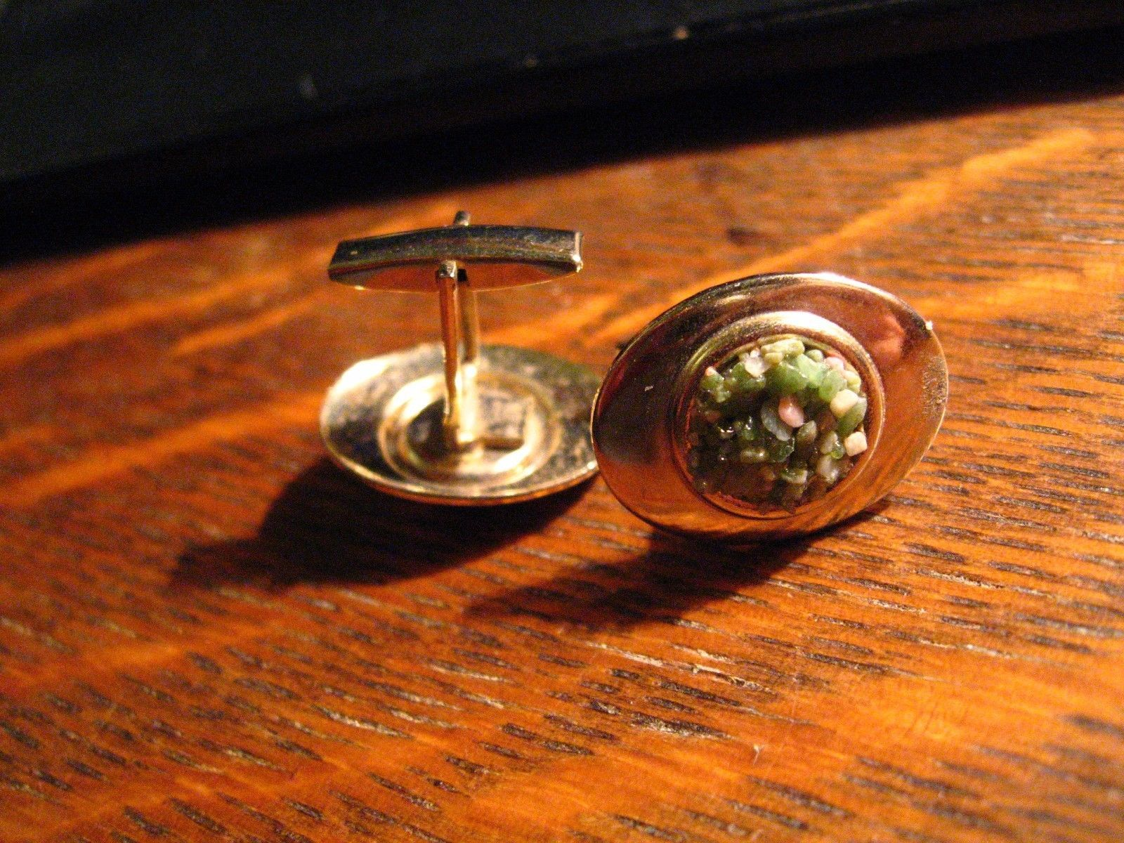 Mid Century Cufflinks - Vintage Gold Green Stone Chip Oval French Cuff Links
