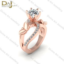 Nature Inspired Butterfly Diamond Engagement Ring Womens Rose Gold Fn 92... - €109,35 EUR