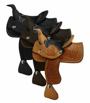 WESTERN HORSE MINIATURE LEATHER SADDLE ADORABLE DECORATION - LIGHT DARK ... - $10.90