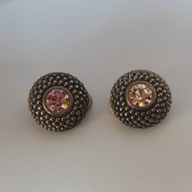 Vintage Joan Rivers Round Raised Silver-tone Clear Rhinestone Clip-on Earrings  - $34.65