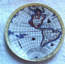 """Japan souvenir dish-Global view """"Nuovo Cotinent 1683""""vintage-French lingo?? - $17.99"""