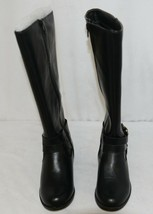 Soda HIROS Black Zip Up Riding Boot Gold Colored Accents Size 5 And Half image 2