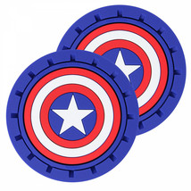 Captain America Shield Logo Car Cup Holder Coaster 2-Pack Blue - $16.98