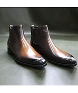 Mens Handmade Brown Chelsea Leather Dress Boots - $179.99+