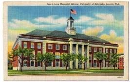 Lincoln Nebraska Postcard Don Love Memorial Library University Curt Teic... - $2.84