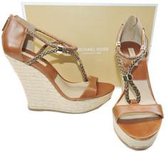 Michael Kors Wedge Sherie Espadrilles Luggage Sandal Shoe 39 Slingback - $124.04