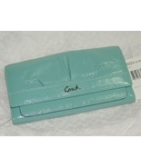NEW Coach Patent Leather Soho East West Slim Wallet Pleated Mineral Blue... - $71.99