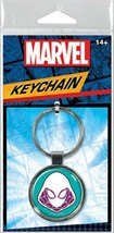Marvel Comics Spider Gwen Mask Image Colored Round Metal Key Chain NEW UNUSED - $4.99