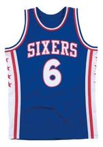 Julius Erving DrJ #6 Philadelphia Basketball Jersey Sewn Blue Any Size image 1