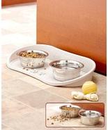 Pet Bowl Tray Feeding Mat Nonskid 2 Bowls Dogs Cats Pets Food Water Hold... - $34.49