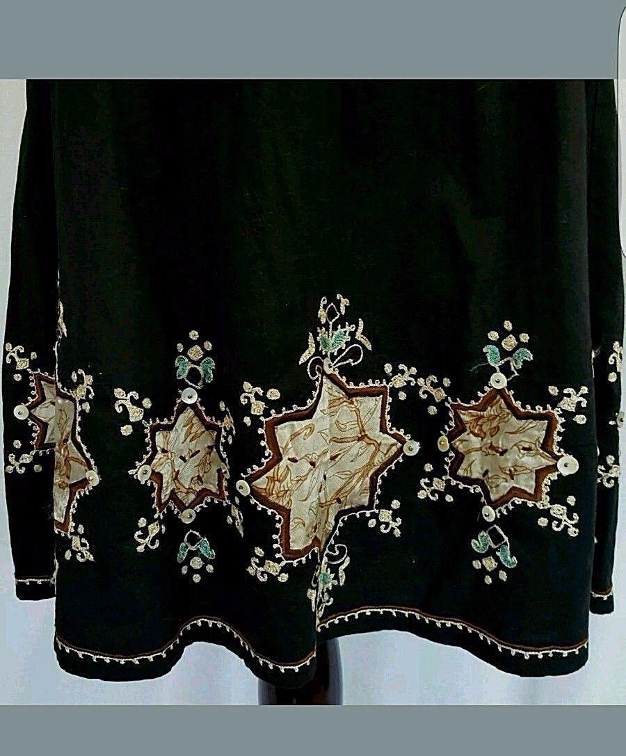 Zara Black Embroidered A Line Skirt Beaded Hemline Side Zipper Size S