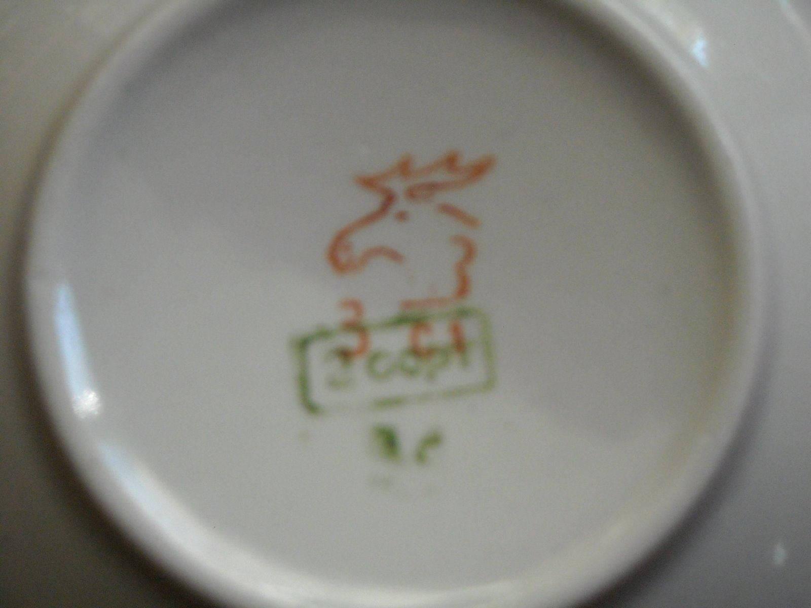 Antique Large Tea Pot & Large Cups Saucers Russian Dmitrov Verbilki Orange Poppy image 5