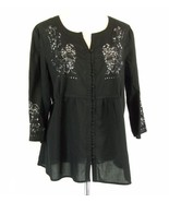 AVENUE Plus Size 18W 20W Airy Embroidery Tunic Top Blouse - $19.99