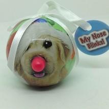 Mini GOLDEN RETRIEVER DOG CHRISTMAS ORNAMENT Ball Red Light Up Nose Twin... - $4.79