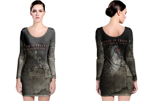 Alice in chains black gives way to blue long sleeve bodycon dress