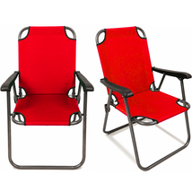2 Red Outdoor Patio Folding Beach Chair Camping Chair Arm Lightweight Portable - $59.49