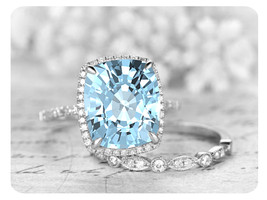 9mm Cushion Cut Aquamarine 14k White Gold Over Art Deco Wedding Bridal Ring Set - $119.99