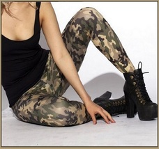 Casual Comfortable Wear Skin Tight Stretch Army Green Camo Print Pants Legging image 2