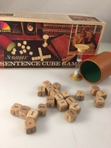 Vintage Scrabble Sentence Cube Game, Vintage Word Play Game with Wood Cu... - $9.99