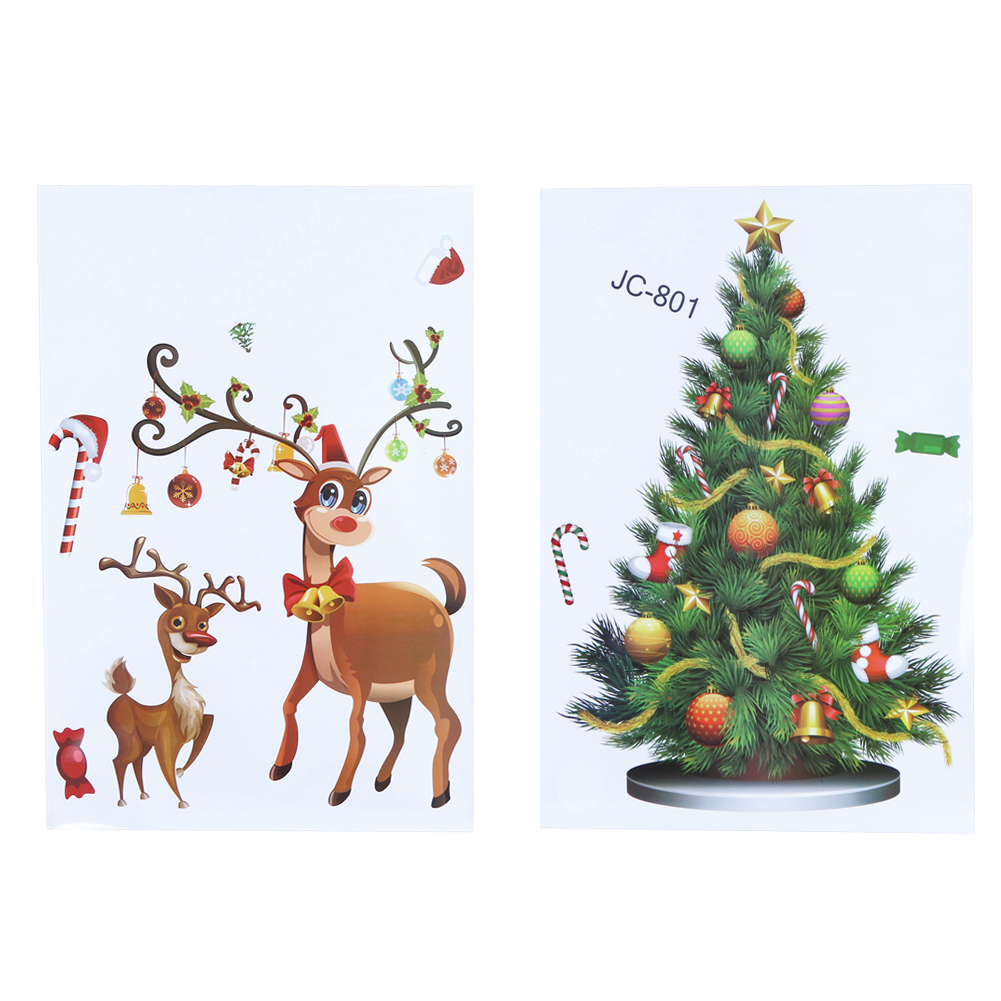 (as picture)Creative Removable Window Stickers Christmas Decorations for Home Co