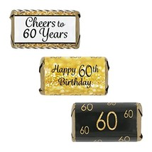 DISTINCTIVS 60th Birthday Party Miniatures Candy Bar Wrapper Stickers - ... - $10.50