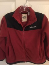 Timberland Jacket Red/Black Zippered Pockets Fleece Boy's Size M 6/7 Medium - $13.46