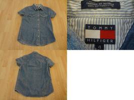 Women's Tommy Hilfiger Sz 4 Snap Up Denim SS Shirt - $18.69